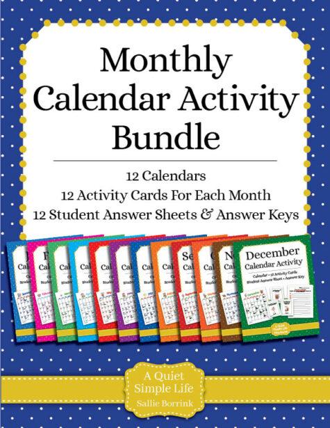 Calendar Center Task Cards Bundle