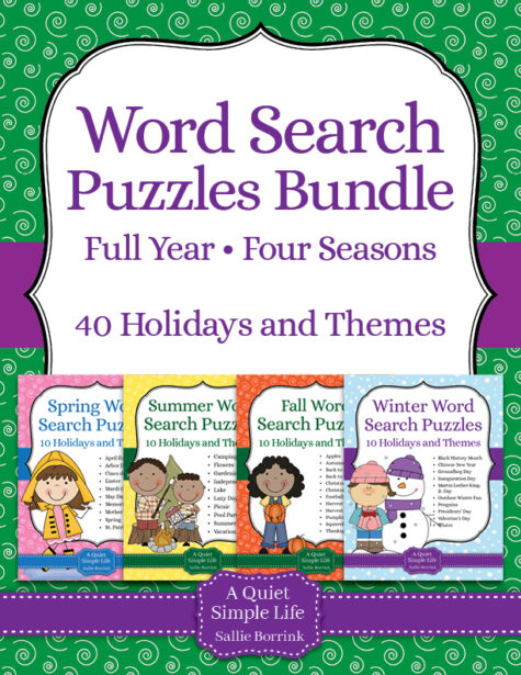 Word Search Puzzles – Full Year of Seasons Bundle